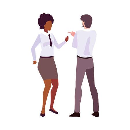 business couple standing on white background vector illustration design 向量圖像