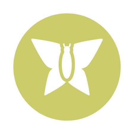 beautiful butterfly , block and flat style icon vector illustration design Illusztráció