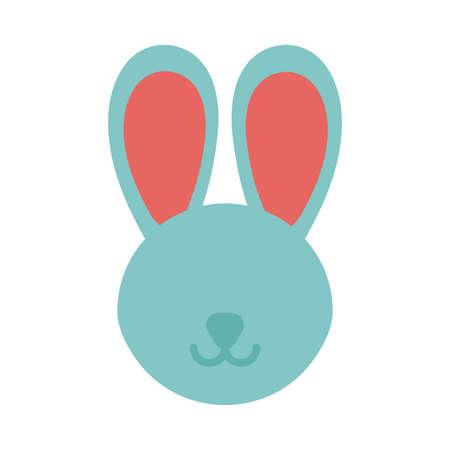 head of cute rabbit on white background vector illustration design