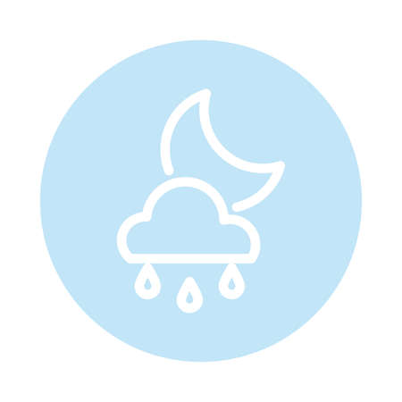 moon with clouds and snow, block and flat style icon vector illustration design