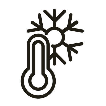 thermometer with snow, line style icon vector illustration design