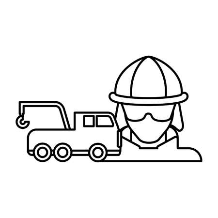 firefighter with fire truck elements on white background vector illustration design