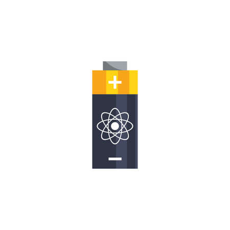 Atom battery design, Chemistry science molecular technology particle molecule micro element and power theme Vector illustration