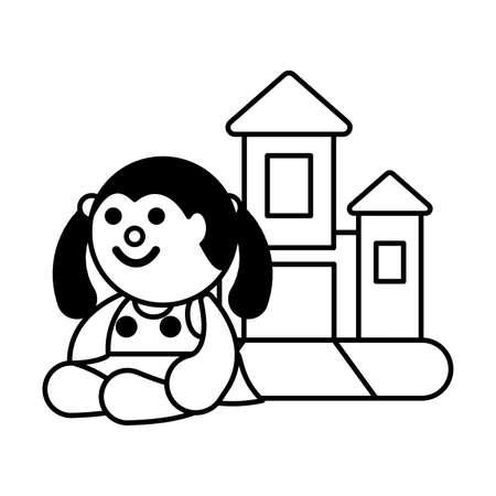 doll and castle on white background, baby toys vector illustration design Illusztráció