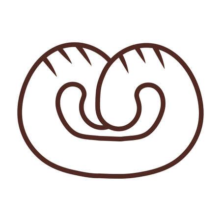 bread pretzel, line style icon vector illustration design
