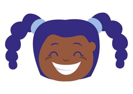 happy little black girl head character vector illustration design