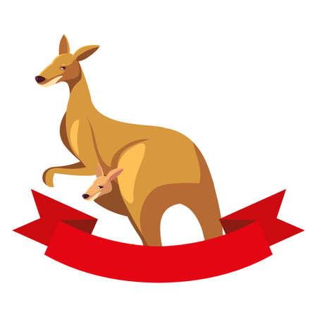 cute australian kangaroo on white background vector illustration design