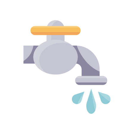 faucet with water drops icon over white background, flat detail style, vector illustration