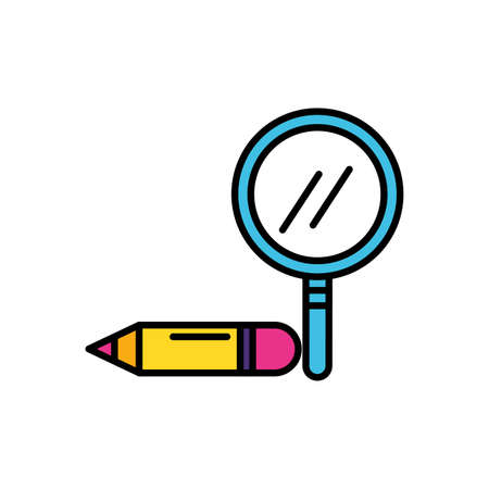 search magnifying glass with pencil vector illustration design