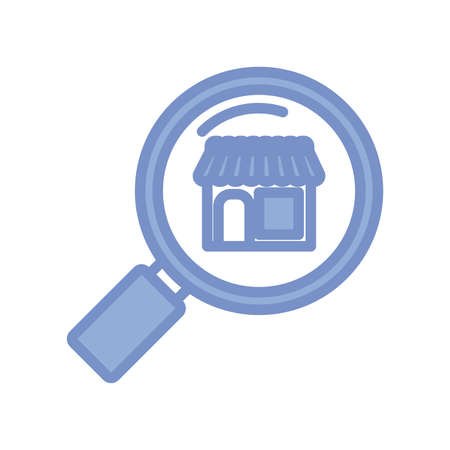 magnifying glass and store icon over white background, blue outline style, vector illustration