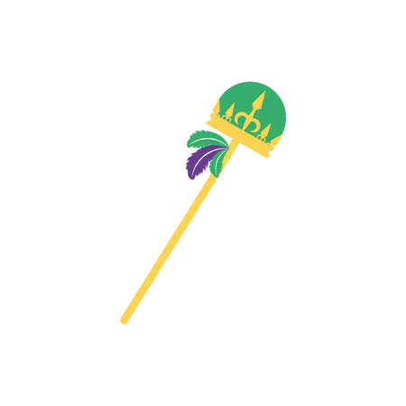 Mardi gras scepter design, Party carnival decoration celebration festival holiday fun new orleans and traditional theme Vector illustration