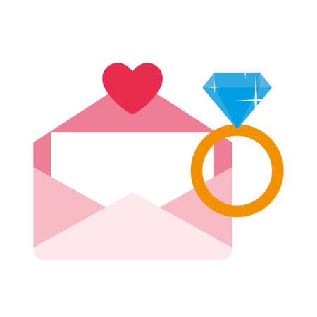 engagement ring with envelope, valentines day vector illustration design Vectores