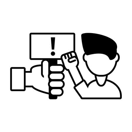 man protesting on a white background vector illustration design