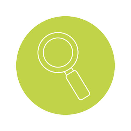 magnifying glass icon over green circle and white background, vector illustration