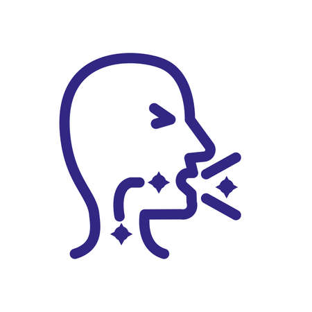 sickness man coughing over white background, thick line style, vector illustration Ilustracja