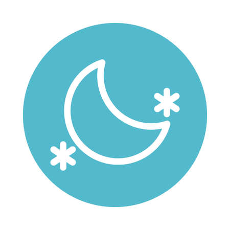 moon with stars, block and flat style icon vector illustration design