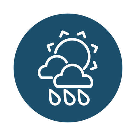 sun with clouds and rain, block and flat style icon vector illustration design