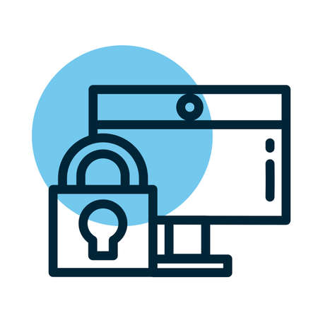 padlocked screen, line style icon vector illustration design