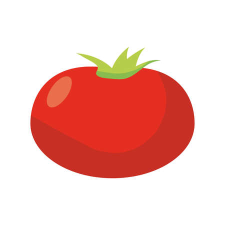 tomato vegetable icon over white background, flat detail style, vector illustration Illustration