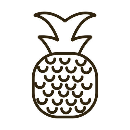 pineapple on white background, line style icon vector illustration design
