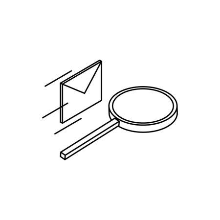search magnifying glass with envelope mail vector illustration design  イラスト・ベクター素材
