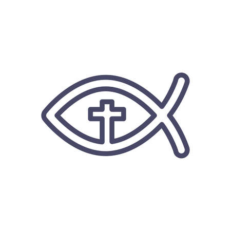 Christian Fish over white background, line style icon, vector illustration  イラスト・ベクター素材