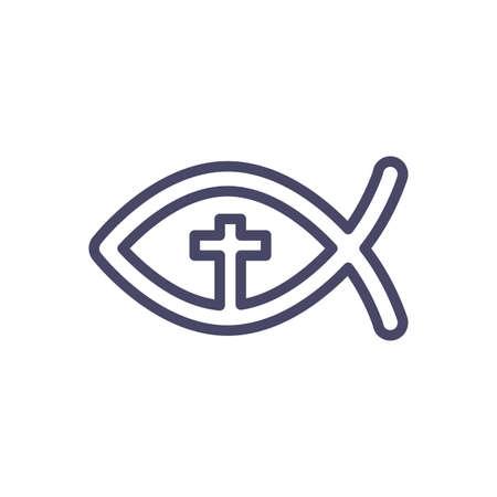Christian Fish over white background, line style icon, vector illustration Illustration