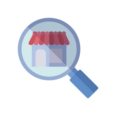magnifying glass and store icon over white background, flat style, vector illustration  イラスト・ベクター素材