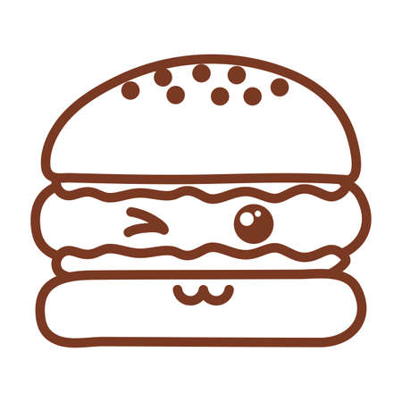 delicious burger , line style icon vector illustration design Illustration