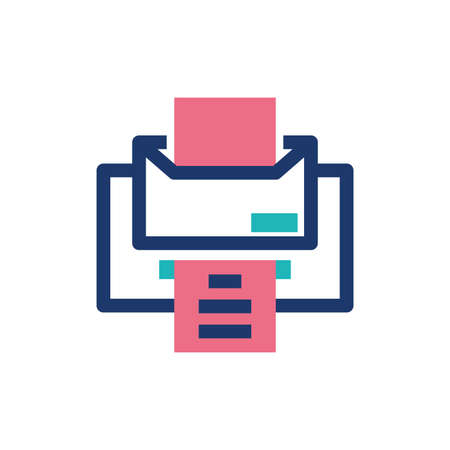 Printer with document design, Data archive storage organize business office and information theme Vector illustration