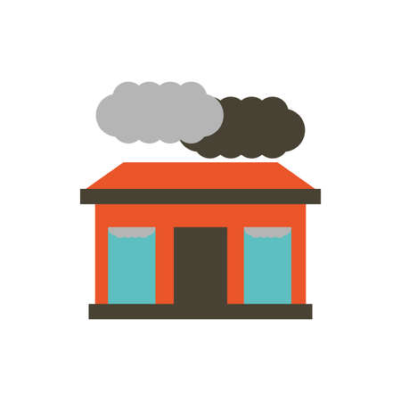 Grey clouds and house design, Pollution factory environment dirty danger industry plant chemical and toxic theme Vector illustration