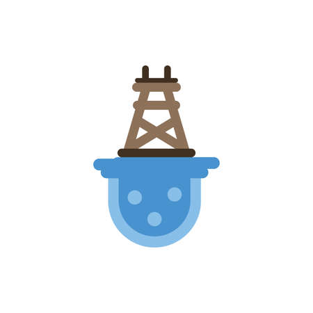 Oil tower over water design, Fracking industry fuel technology power industrial production and petroleum theme Vector illustration