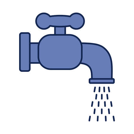 faucet dripping, line and fill style icon vector illustration design