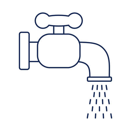 faucet dripping, line style icon vector illustration design