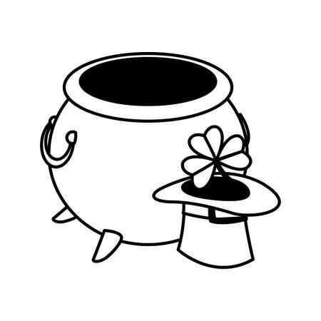 saint patrick cauldron with treasure coins and elf hat vector illustration design 向量圖像