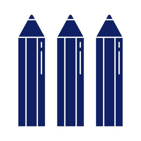 three pencils to write, silhouette style icon vector illustration design