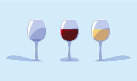 set of wine glasses on blue background vector illustration design