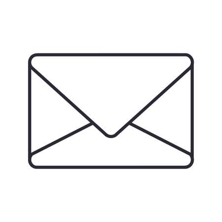 envelope icon over white background, vector illustration 矢量图像