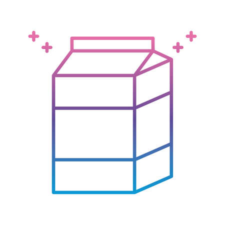 milk box icon over white background, gradient line style, vector illustration