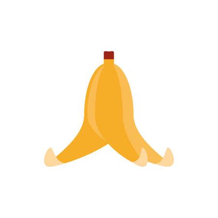 banana peel over white background, flat style icon, vector illustration Ilustração