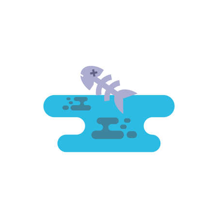 Dead fish design, Pollution factory environment dirty danger industry plant chemical and toxic theme Vector illustration