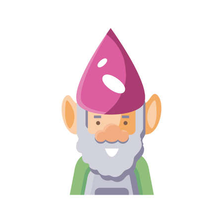 cartoon gardening gnome icon over white background, flat detail style, vector illustration 矢量图像