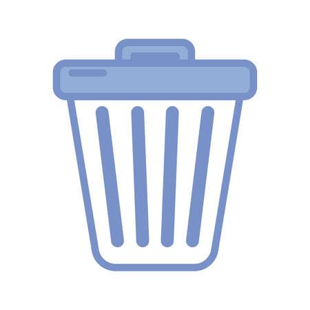 trash basket icon over white background, blue outline style, vector illustration 向量圖像