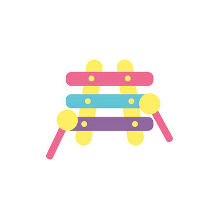 xylophone toy design of Childhood play fun kid game gift object little and present theme Vector illustration