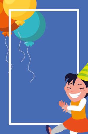 cute happy girl with birthday balloons helium vector illustration design
