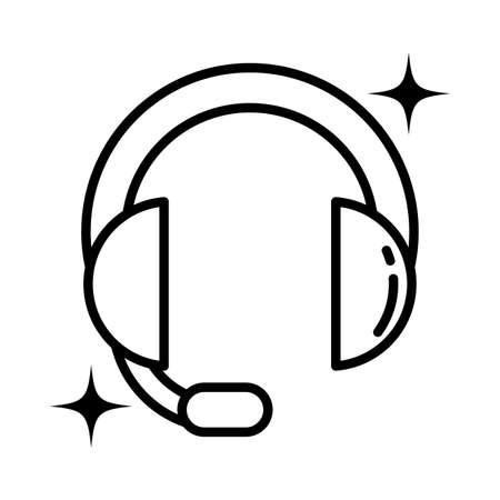 headband headphones , line style icon vector illustration design Vecteurs