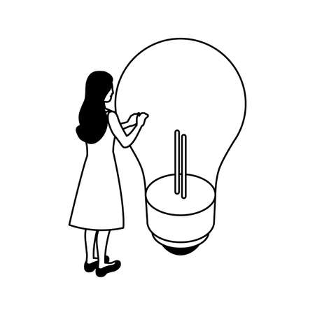 businesswoman with light bulb on white background vector illustration design