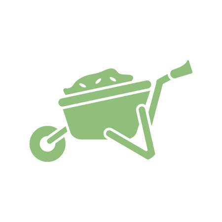 wheelbarrow with land icon over white background, silhouette style, vector illustration