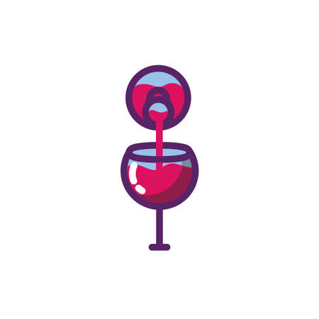 Wine cup and bottle design of Winery alcohol drink beverage restaurant celebration and party theme Vector illustration