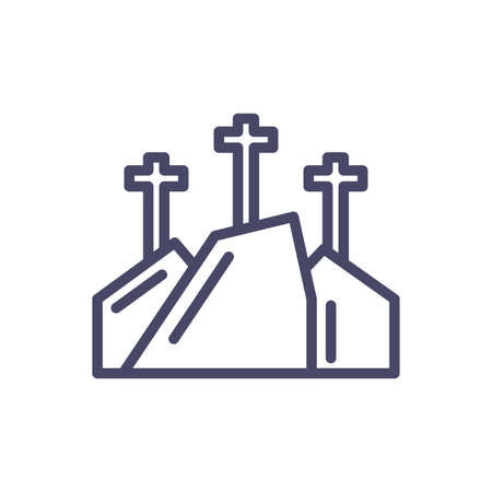 mountain with three crosses over white background, line style icon, vector illustration Vector Illustratie